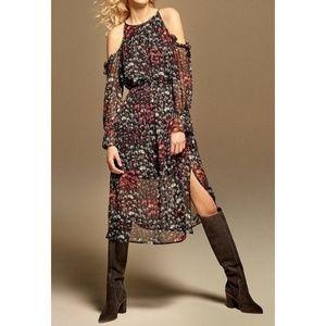 1. State The Curator Rich Blk Floral Midi Dress L